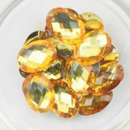 Plastic Gold Sew On Stones Oval 10x14mm