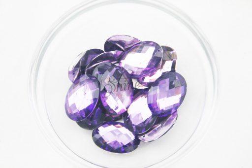 Plastic Purple Sew On Stones Oval 18x25mm