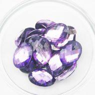 Plastic Purple Sew On Stones Oval 10x14mm