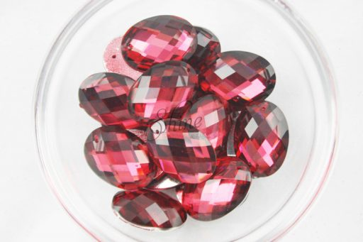 Plastic Red Sew On Stones Oval 10x14mm
