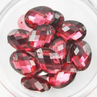 Plastic Red Sew On Stones Oval 13x18mm