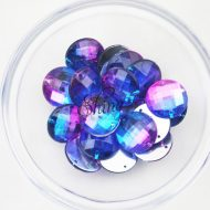 Plastic Two-Tone Blue Purple Sew On Stone Round 18mm