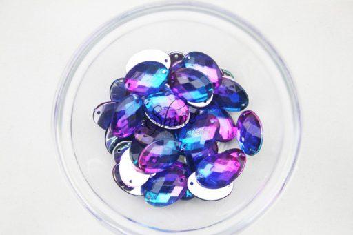 Plastic Two-Tone Blue Purple Sew On Stone Oval 13x18mm