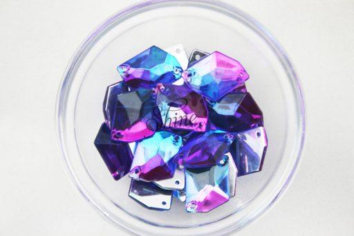 Plastic Two-Tone Blue Purple Sew On Stone Parallelogram 17x22mm