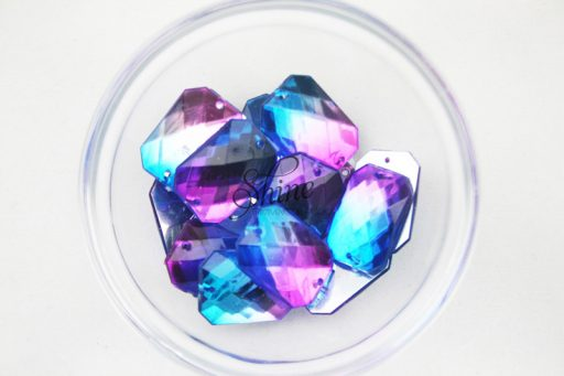Plastic Two-Tone Blue Purple Sew On Stone Rectangle 10x14mm