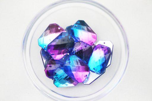 Plastic Two-Tone Blue Purple Sew On Stone Rectangle 18x25mm