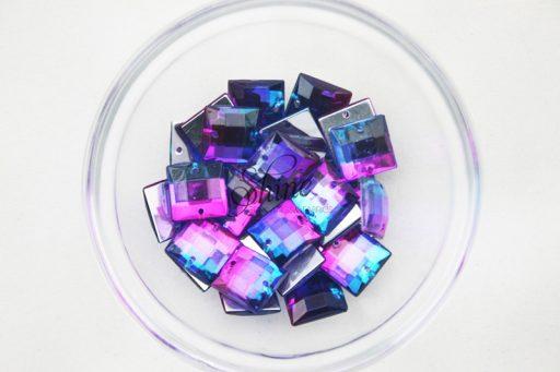 Plastic Two-Tone Blue Purple Sew On Stone Square 10mm