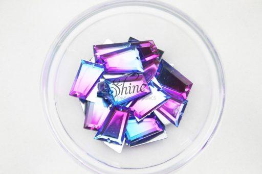 Plastic Two-Tone Blue Purple Sew On Stone Trapezium 18x20mm