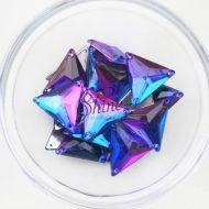 Plastic Two-Tone Blue Purple Sew On Stone Triangle 16mm