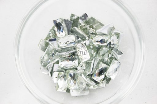 Plastic Crystal Clear Sew On Stones Rectangle 8x14mm