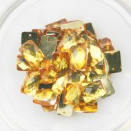 Plastic Gold Sew On Stones Rectangle 10x14mm