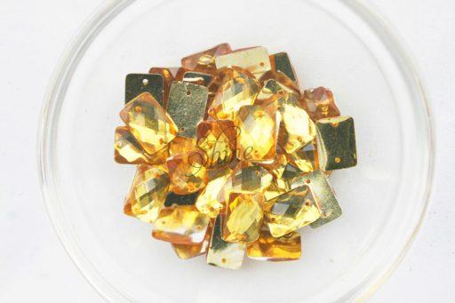 Plastic Gold Sew On Stones Rectangle 10x14mm