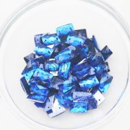 Plastic Royal Blue Sew On Stones Rectangle 7x12mm