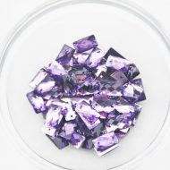 Plastic Purple Sew On Stones Rectangle 7x12mm