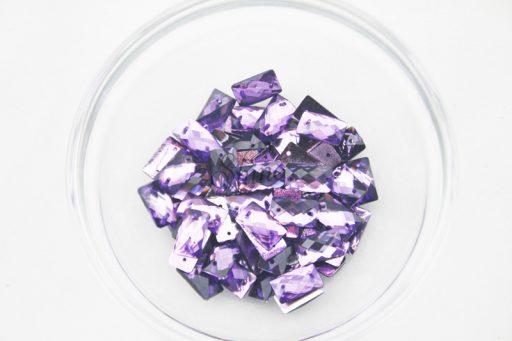 Plastic Purple Sew On Stones Rectangle 7x12mm