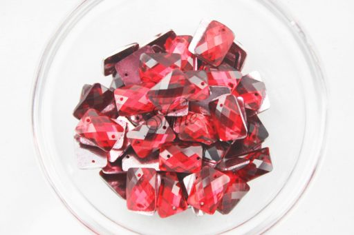 Plastic Red Sew On Stones Rectangle 10X14