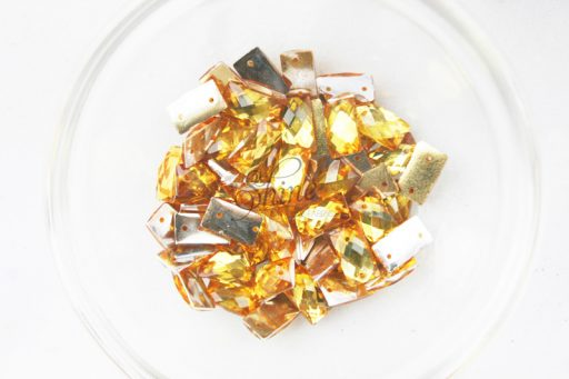Plastic Gold Sew On Stones Rectangle 7x12mm