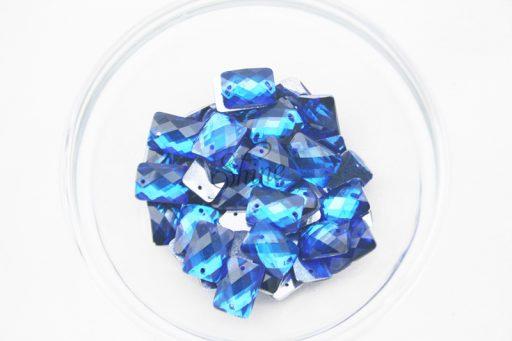Plastic Royal Blue Sew On Stones Rectangle 10x14mm