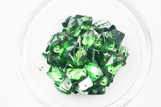Plastic Emerald Green Sew On Stones Rectangle 10x14mm