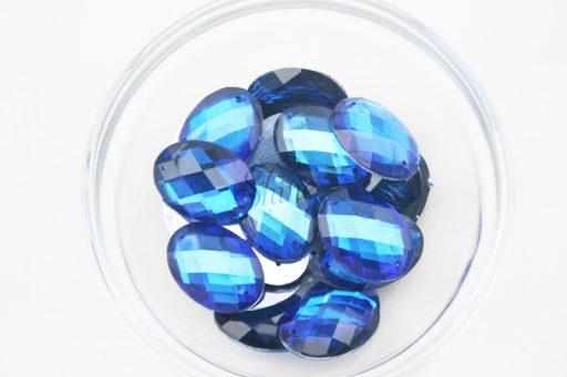 Plastic Royal Blue Sew On Stones Oval 10x14mm