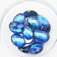Plastic Royal Blue Sew On Stones Oval 13x18mm