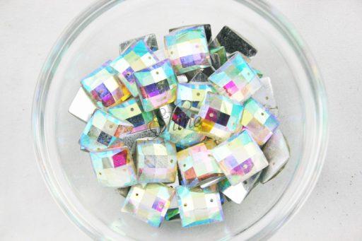Plastic Crystal AB Sew On Stones Square 14mm