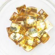 Plastic Gold Sew On Stones Square 14mm