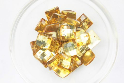 Plastic Gold Sew On Stones Square 14mm