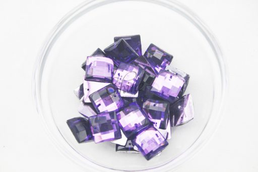 Plastic Purple Sew On Stones Square 14mm