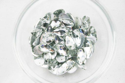 Plastic Crystal Clear Sew On Stones Teardrop 9x16mm