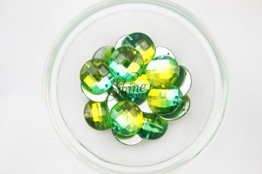 Plastic Two-Tone Emerald Green Lime Sew on Stone Round 14mm