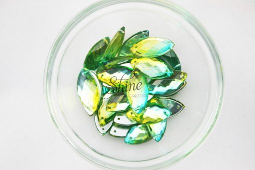 Plastic Two-Tone Emerald Green Lime Sew on Stone Eye 6x12mm