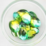 Plastic Two-Tone Emerald Green Lime Sew on StoneOval 13x18mm