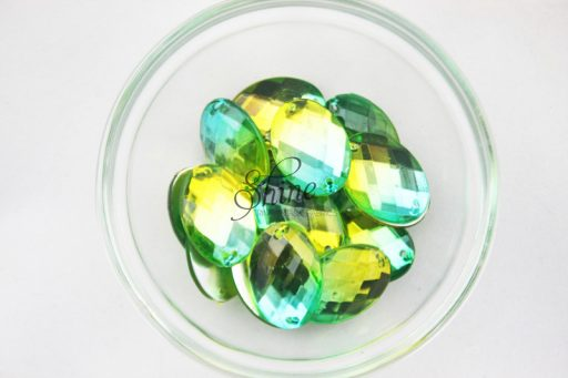 Plastic Two-Tone Emerald Green Lime Sew on Stone Oval 9x12mm