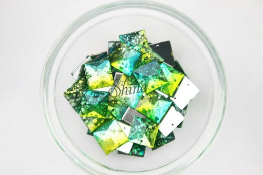 Plastic Two-Tone Emerald Green Lime Sew on Stone Square 14mm