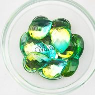 Plastic Two-Tone Emerald Green Lime Sew on Stone Teardrop 18x25mm
