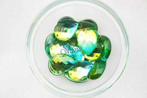 Plastic Two-Tone Emerald Green Lime Sew on Stone Teardrop 18x25mm