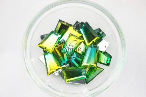 Plastic Two-Tone Emerald Green Lime Sew on Stone Trapezium 18x20mm