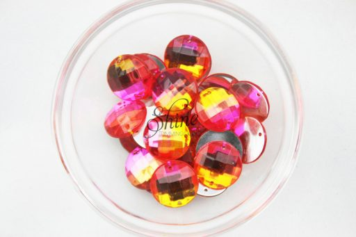 Plastic Two-Tone Pink Orange Sew On Stone Round 18mm