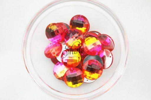 Plastic Two-Tone Pink Orange Sew On Stone Round 14mm