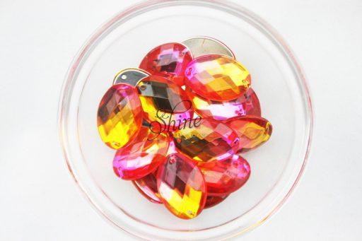 Plastic Two-Tone Pink Orange Sew On Stone Oval 13x18mm