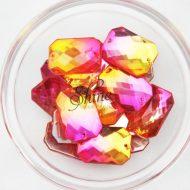 Plastic Two-Tone Pink Orange Sew On Stone Rectangle 18x25mm