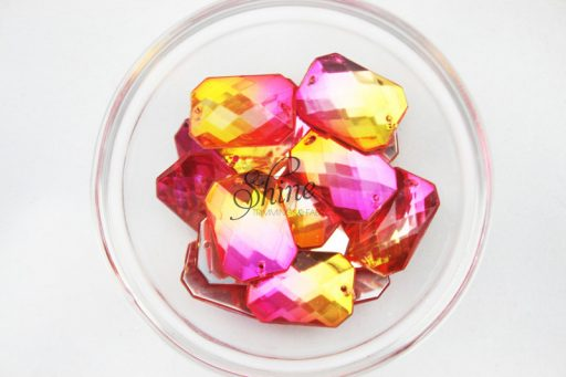 Plastic Two-Tone Pink Orange Sew On Stone Rectangle 10x14mm