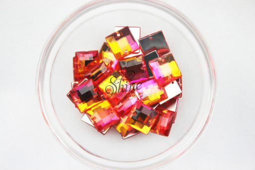 Plastic Two-Tone Pink Orange Sew On Stone Square 10mm