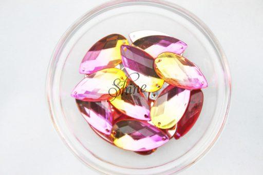 Plastic Two-Tone Pink Orange Sew On Stone Teardrop 16x30mm