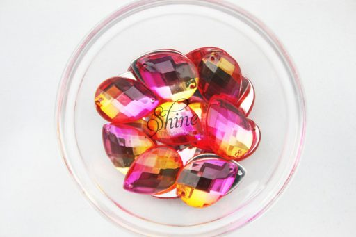 Plastic Two-Tone Pink Orange Sew On Stone Teardrop 13x18mm