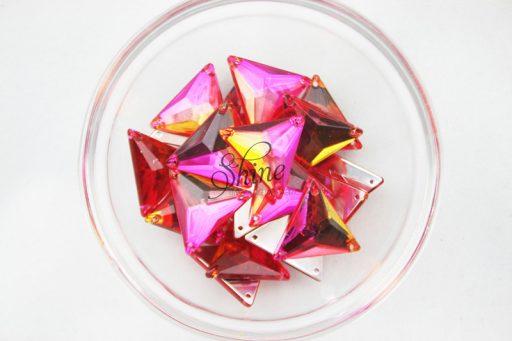 Plastic Two-Tone Pink Orange Sew On Stone Triangle 21mm