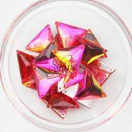 Plastic Two-Tone Pink Orange Sew On Stone Triangle 16mm