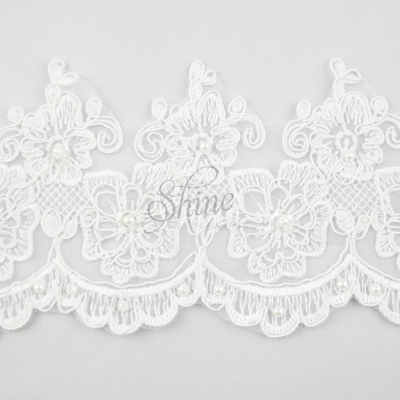 Beaded embroidery lace trimming pansy scallop s white