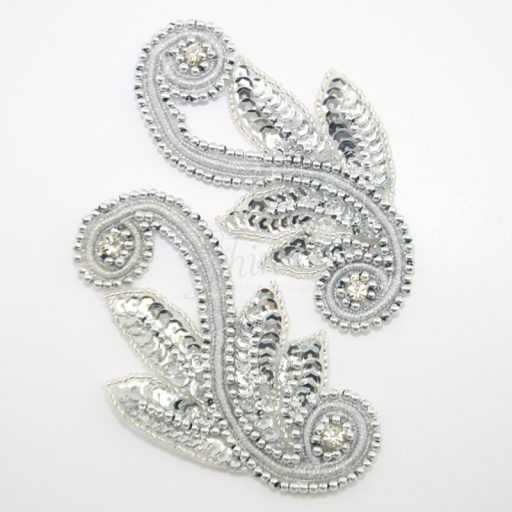 Embroidered Swirl Sequin motif Pair